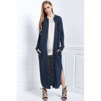 Stylish Stand Neck Long Sleeve Solid Color Women's Maxi Cardigan