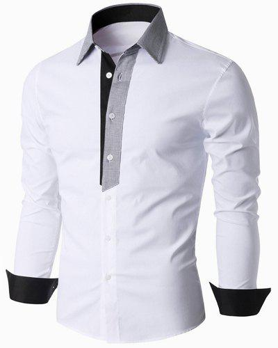 Color Block Spliced Turn-Down Collar Long Sleeve Men's Shirt - WHITE M