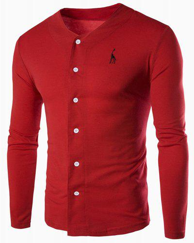 V-Neck Giraffe Embroidered Button Embellished Long Sleeve Men's T-Shirt - RED M