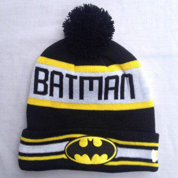 Stylish Batman Mark Letters Stripe Pattern Men and Women's Knitted Beanie -  BLACK