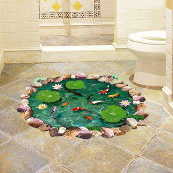 Fancy 3D Lotus Pond Design Bathroom Stickers