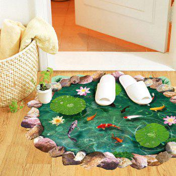 Fancy 3D Lotus Pond Design Bathroom Stickers - GREEN