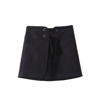 Chic High-Waisted Lace-Up A Line Women's Suede Skirt