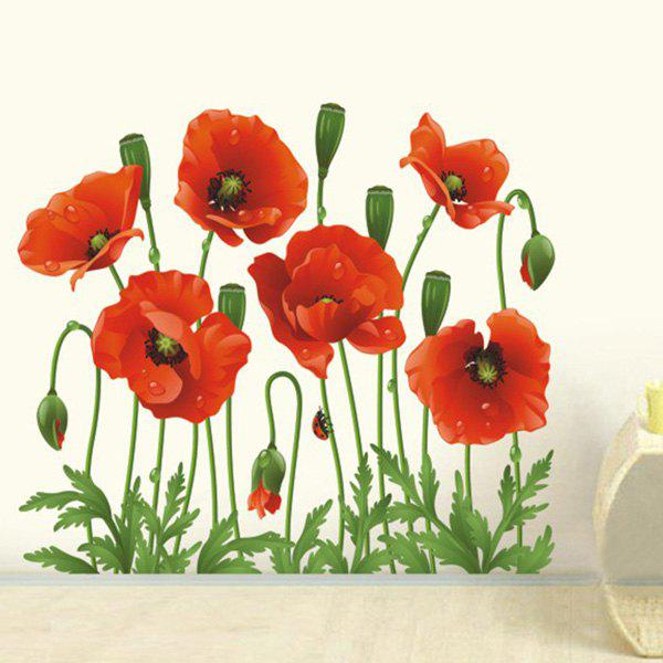 Sweet Large Flower Design Wall Sticker For TV Background - RED/GREEN