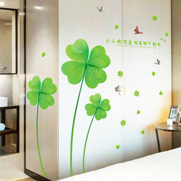 Beautiful Lucky Clover Wall Sticker For Living Room - GREEN