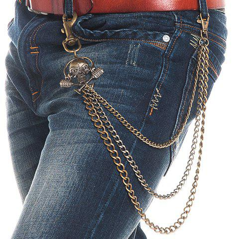 Stylish Skull and Microphone Shape Decorated Men's Metal Trousers Chain - BRONZE COLORED