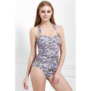 Sexy Halter Multicolored Printed One-Piece Swimwear For Women
