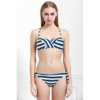 Chic Striped Halter Bra and Low-Waist Tied Briefs Bikini Set For Women