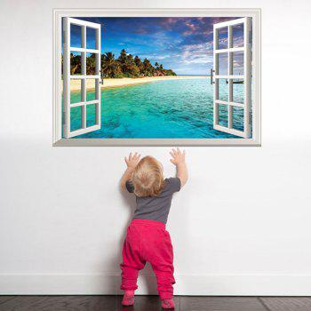 Special Removable 3D Faux Window Wall Sticker For Living Room - BLUE