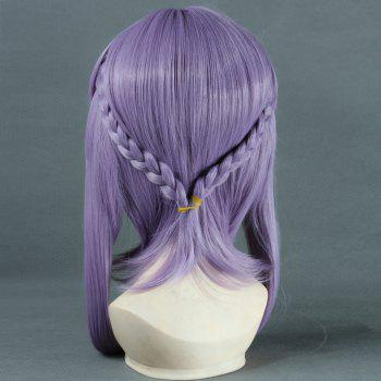 Stylish Straight Purple Long Sideburns with Braids Hiiragi Shinoa Cosplay Wig - PURPLE