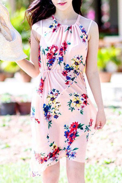 Sweet Flower Print High Slit Three-Piece Swimsuit For Women