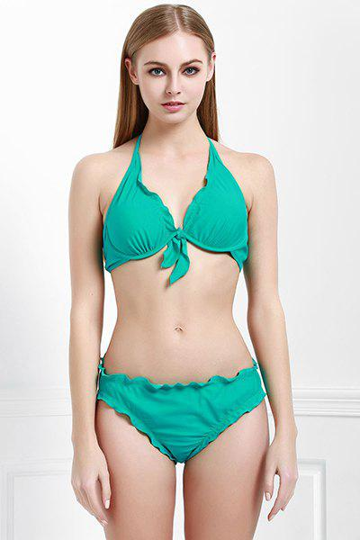 Sexy Halter manches Conception bowknot Solide Bikini femmes Couleur - GREEN S