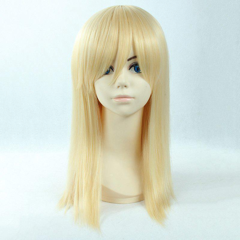 Attractive Side Bang Light Blonde Fashion Long Straight Synthetic Christa Lenz Cosplay Wig - LIGHT GOLD