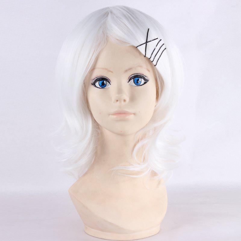 Fluffy Natural Wavy Medium Fashion White Synthetic Juzo Suzuya Cosplay Wig - WHITE