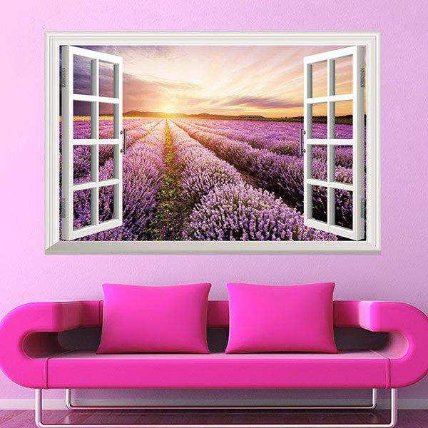 Sweet Removable Rural Sunrise Design 3D Wall Sticker For Living Room - COLORMIX