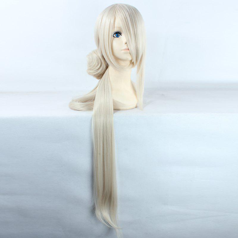 Noble Extra Long  with Chignons Synthetic Straight Ima No Tsurugi Cosplay Wig - OFF WHITE