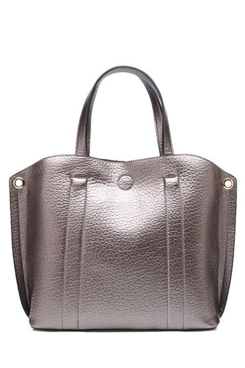 Concise Stitching and Solid Color Design Tote Bag For Women - SILVER GRAY