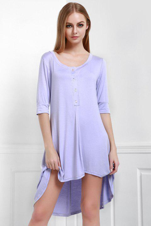 Scoop Neck Buttoned Tee Flowy Dress With Sleeves - PURPLE L