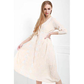 Bohemian Style V-Neck 3/4 Sleeve Drawstring Embroidered Women's Dress
