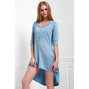 Scoop Neck Buttoned Tee Flowy Dress With Sleeves - BLUE L