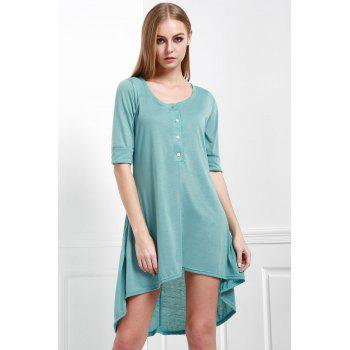 Scoop Neck Buttoned Tee Flowy Dress With Sleeves - GREEN M