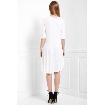 Scoop Neck Buttoned Tee Flowy Dress With Sleeves - WHITE L
