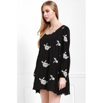 Fashionable V Neck Floral Embroidery Long Sleeve Dress For Women - BLACK M