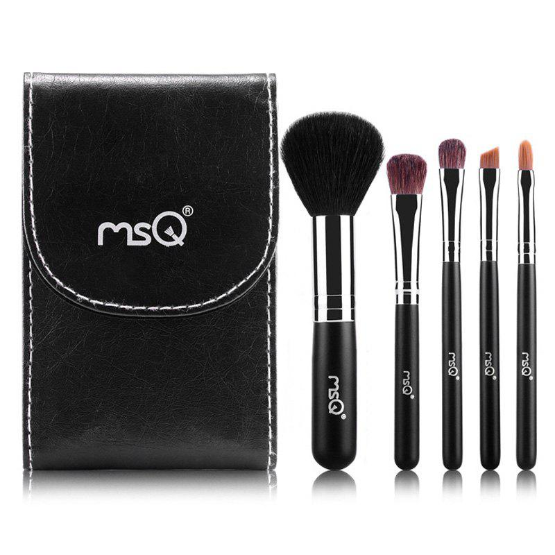 Practical 5 Pcs Classic Wool Horsehair Makeup Brushes Set with Black Brush Bag and Mirror - BLACK