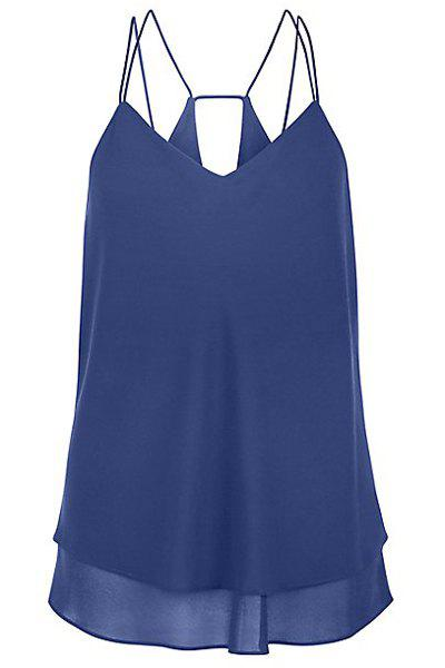 Sexy Women's Strappy Ruffled Solid Color Tank Top - BLUE S