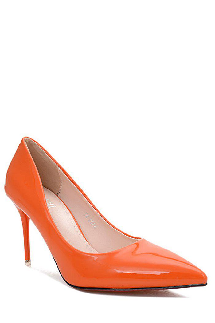 Elegant Patent Leather and Pointed Tod Design Pumps For Women - ORANGE 36