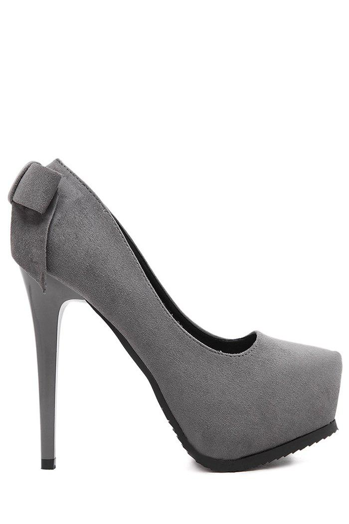Party Bow and Suede Design Pumps For Women - GRAY 38