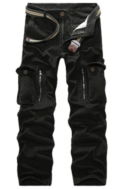 Casual Loose Fit Multi-Pockets Zip Fly Straight-Leg Cargo Pants For Men - BLACK 30