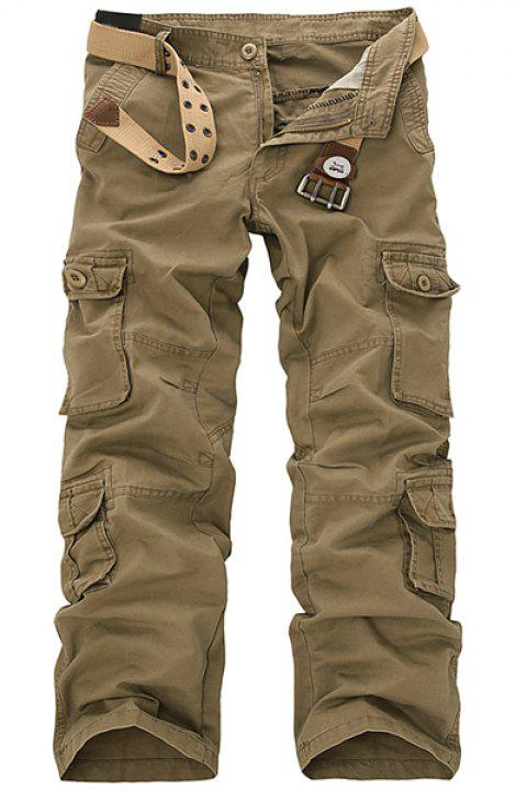 Casual Loose Fit Multi-Pockets Zip Fly Solid Color Cargo Pants For Men - KHAKI 33