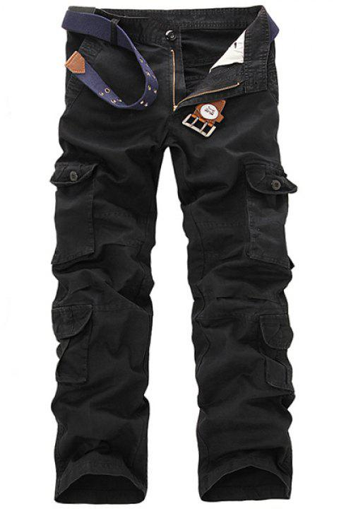 Casual Loose Fit Multi-Pockets Zip Fly Solid Color Cargo Pants For Men - BLACK 33