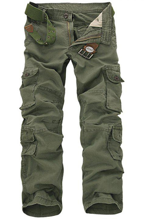 Casual Loose Fit Multi-Pockets Zip Fly Solid Color Cargo Pants For Men - ARMY GREEN 34