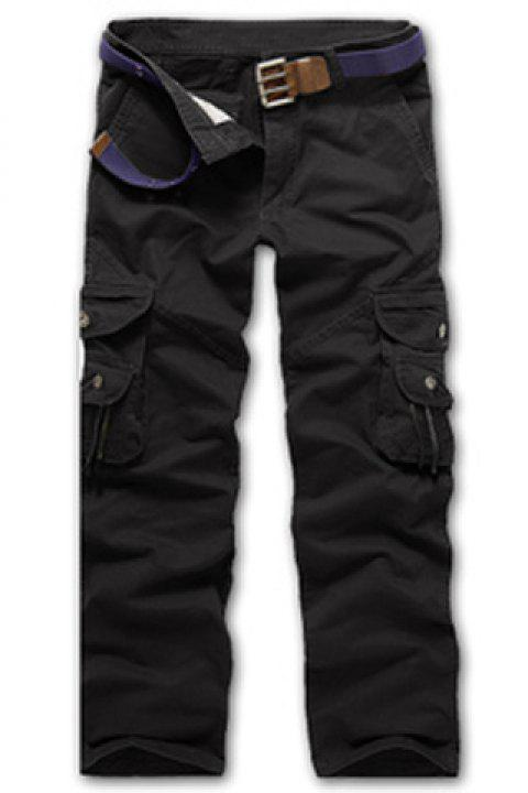 Casual Loose Fit Multi-Pockets Zip Fly Cargo Pants For Men - BLACK 38