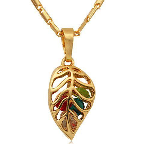 Charming Colored Leaf Hollow Out Pendant Necklace For Women - GOLDEN