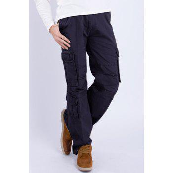 Casual Loose Fit Multi-Pockets Zip Fly Solid Color Cargo Pants For Men - BLACK 34