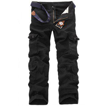 Casual Loose Fit Multi-Pockets Zip Fly Solid Color Cargo Pants For Men