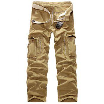 Buy Casual Loose Fit Multi-Pockets Zip Fly Straight-Leg Cargo Pants Men KHAKI