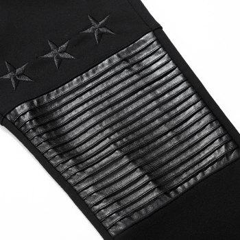 PU-Leather Splicing Design Star Embroidered Lace-Up Beam Feet Men's Pants - BLACK XL