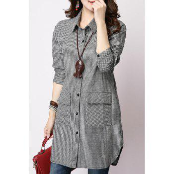 Casual Long Sleeve Shirt Collar Loose-Fitting Plaid Women's Shirt