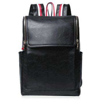 Fashionable Black and PU Leather Design Backpack For Men - BLACK BLACK