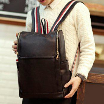 Fashionable Black and PU Leather Design Backpack For Men -  BLACK