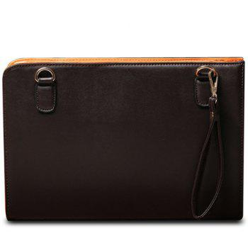 Simple Solid Color and PU Leather Design Clutch Bag For Men - COFFEE COFFEE