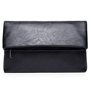 Simple Black and PU Leather Design Clutch Bag For Men