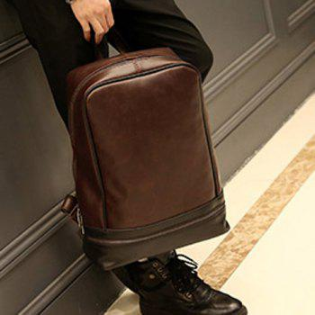 Vintage PU Leather and Zip Design Men's Backpack - COFFEE