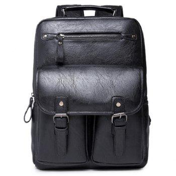 Fashionable PU Leather and Black Color Design Men's Backpack - BLACK BLACK