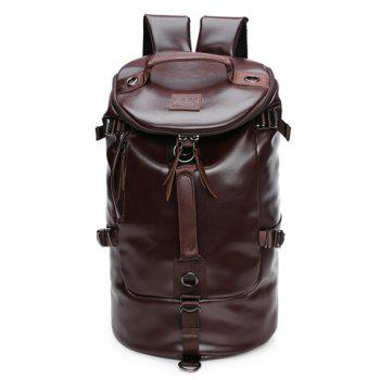 Casual Solid Color and PU Leather Design Backpack For Men - COFFEE COFFEE
