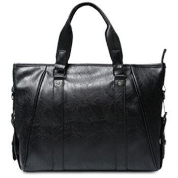 Casual PU Leather and Black Design Briefcase For Men - BLACK BLACK